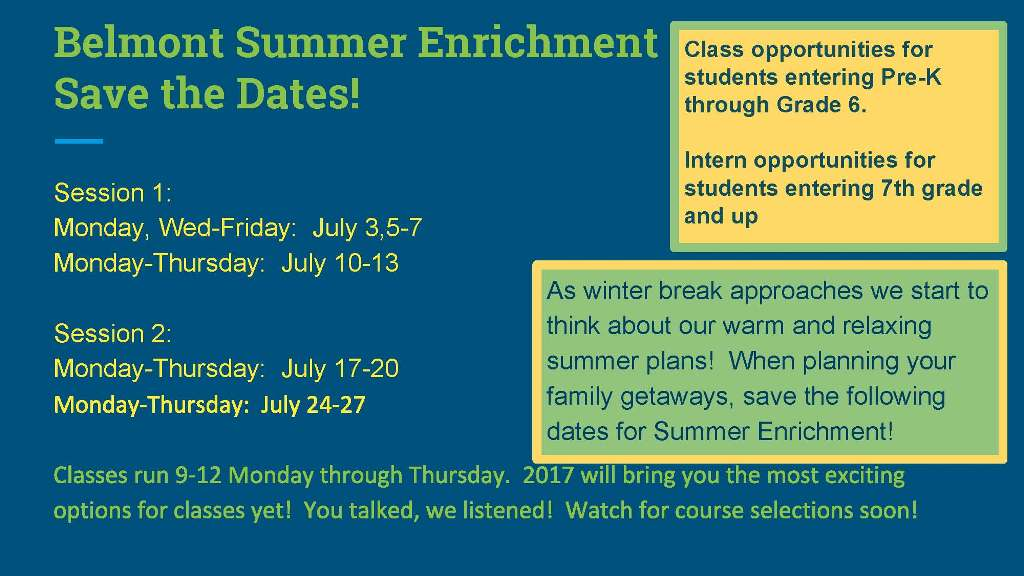 Summer Enrichment Programs Save the Dates