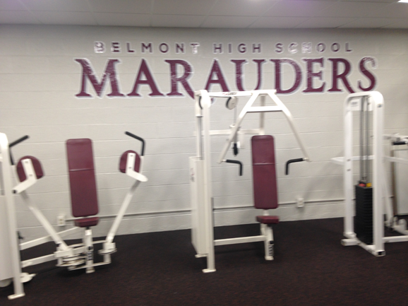 weight room benches signage