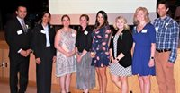 2019 FBE Outstanding Teacher Award left to right; Leon Dyer, Bhuvana Kaushik, Kelly Mastalong, Ellen Levy, Nicole Torniero, Colleen McBride, Sarah Pierson, Mark Abruzzese