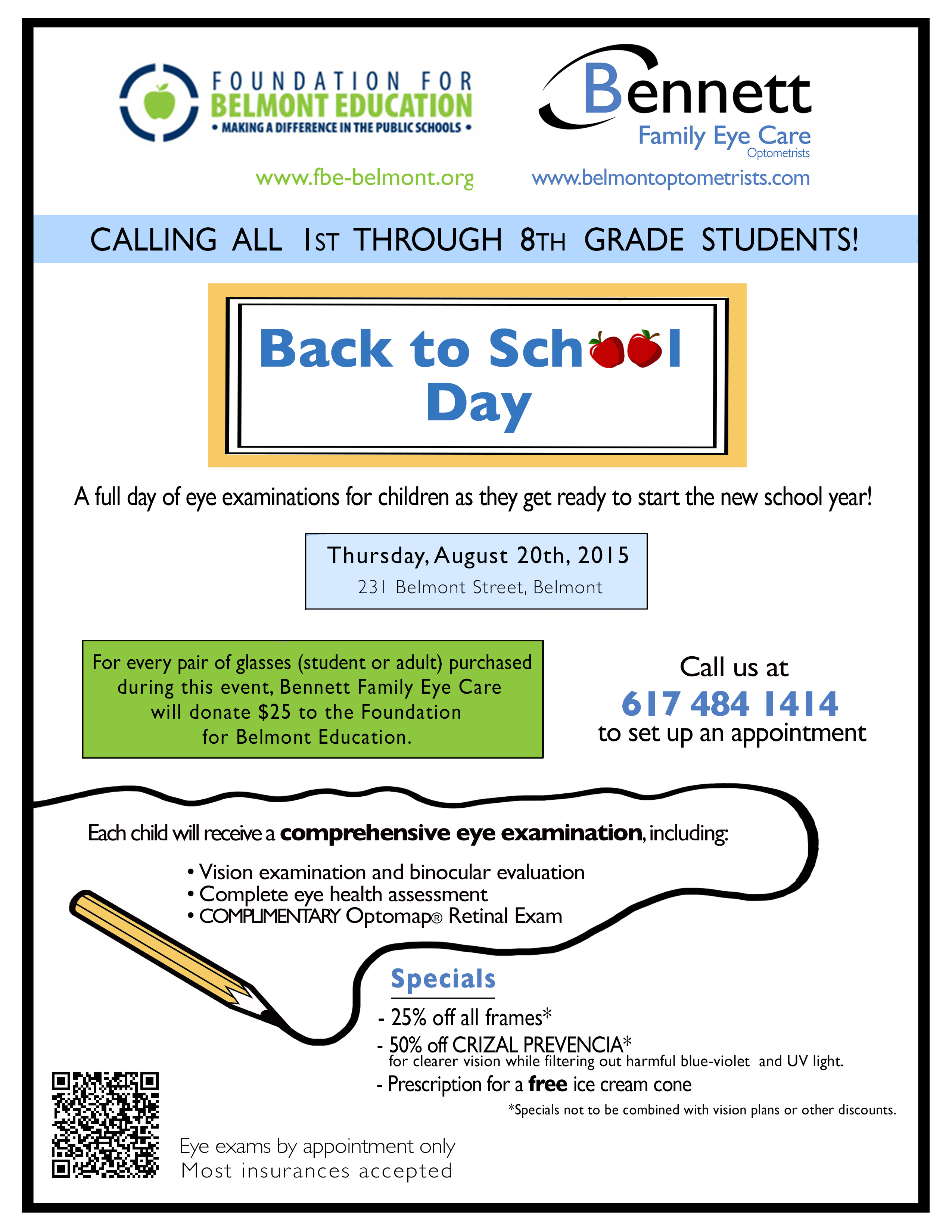 Book your student's Back to School Day appointment at Bennett Family Eye Care and support the FBE