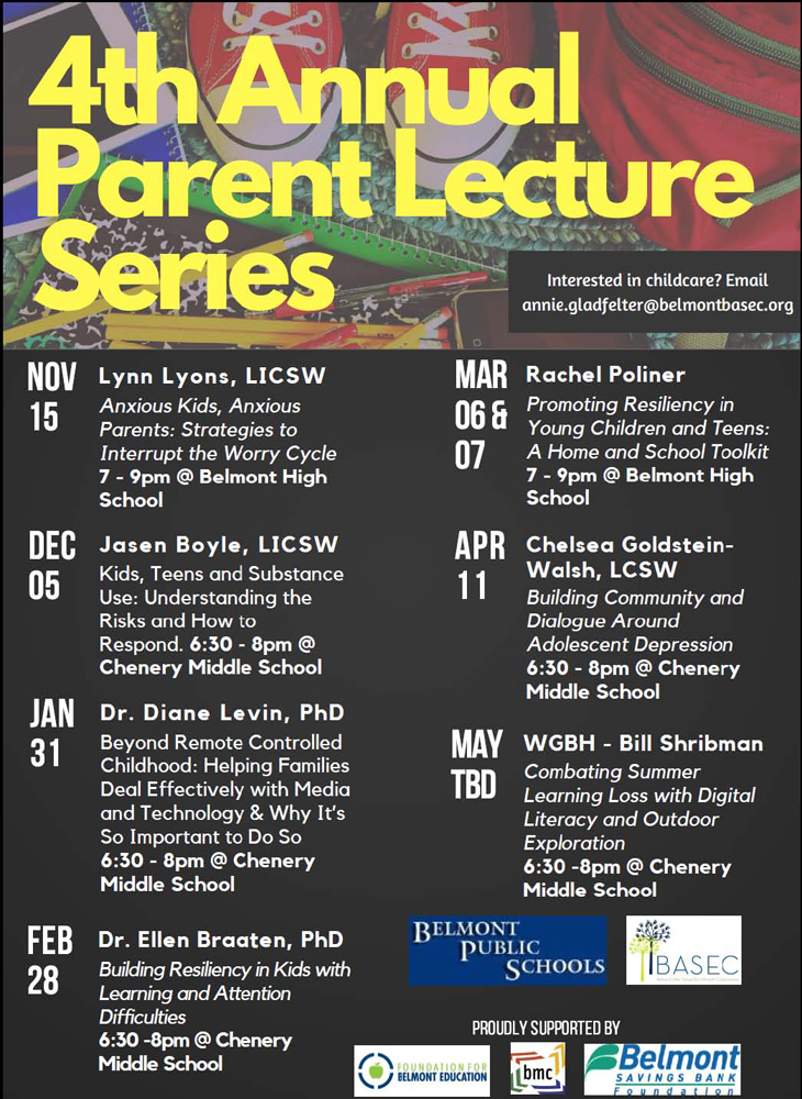 Parent Lecture Series for 2017 – 2018