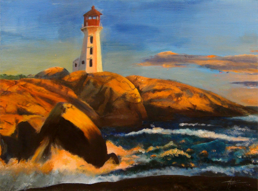 Gavin Denison, Lighthouse on the Rocks (Oil)
