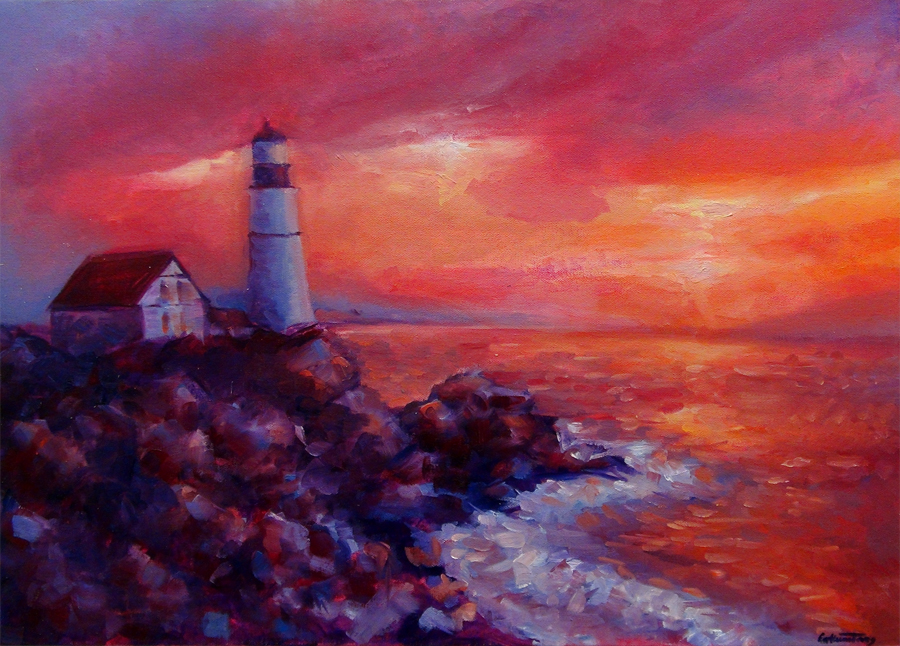 Catherine Tang, Lighthouse Sunset (Oil)