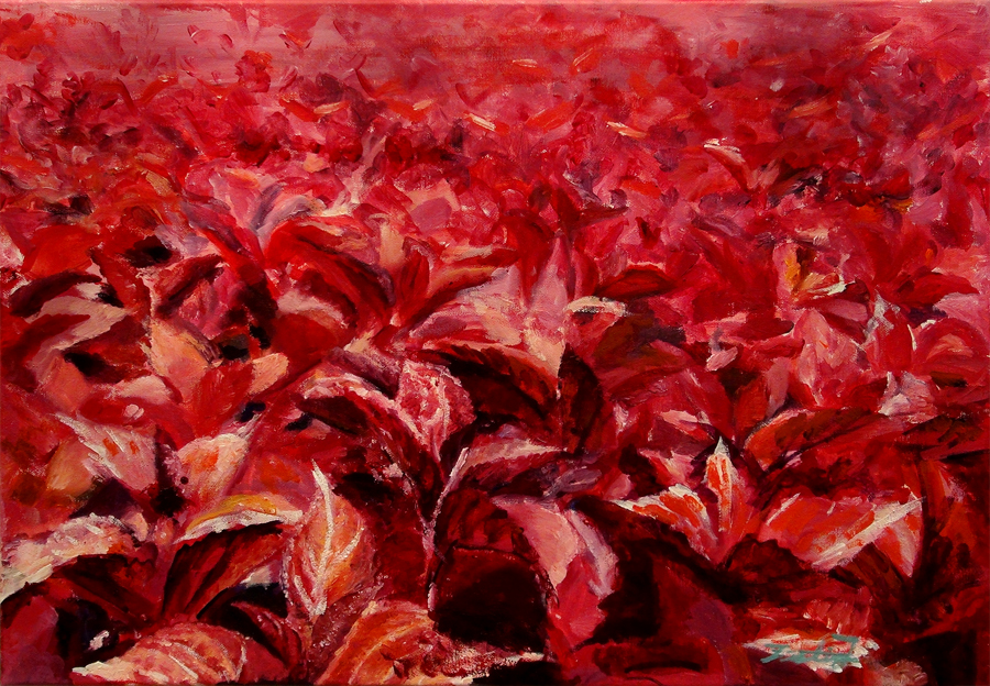 Justin Jang, Red Flowers (Oil)