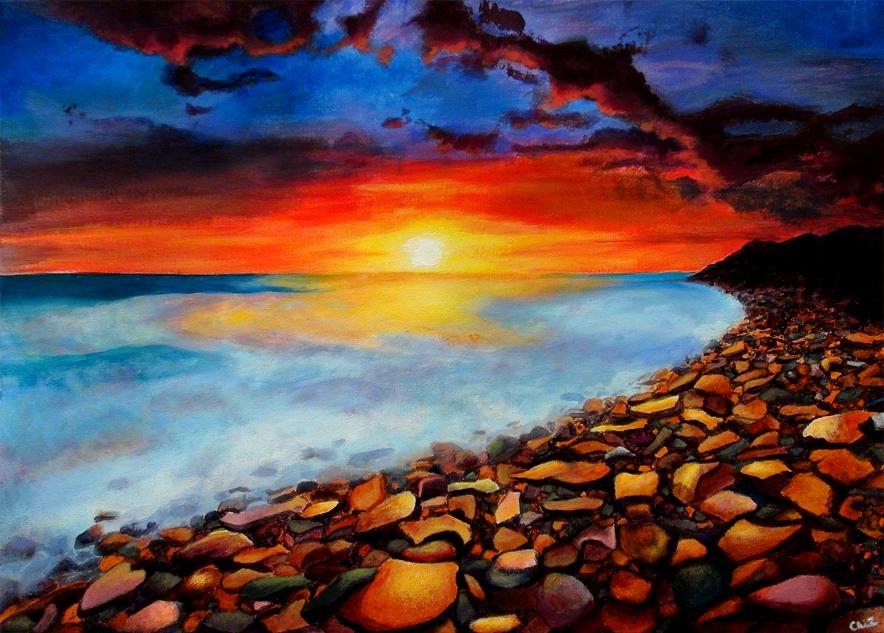 Chihiro Ichikawa, Life on the Rocks (Acrylic)
