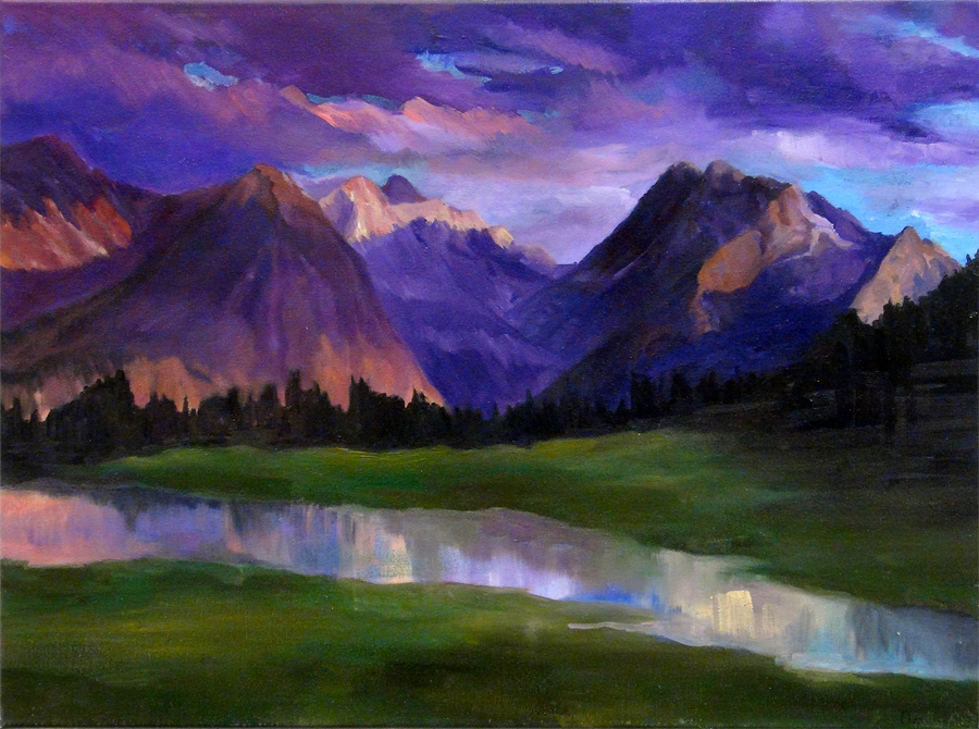 Christin Kim, Purple Boundaries (Oil)