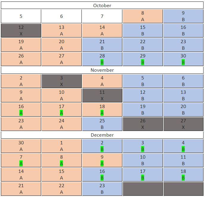 Elementary Schools Cohort Schedule